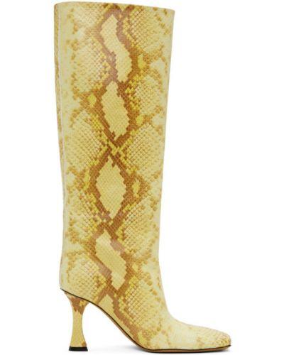 Żółty buty na pięcie w połowie kolana prążkowany z prawdziwej skóry Proenza Schouler