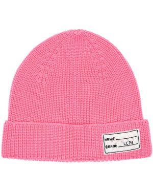 Prążkowany różowy czapka beanie wełniany Lc23
