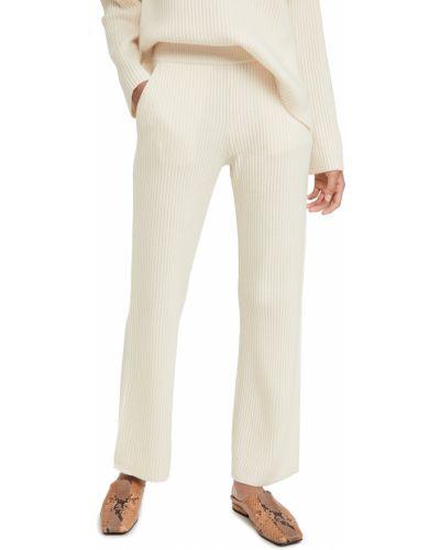 Шерстяные белые брюки на резинке Club Monaco