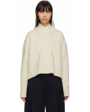 Белый свитер с V-образным вырезом с воротником с манжетами Studio Nicholson