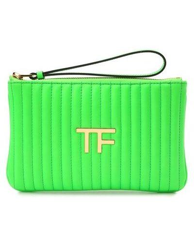 Зеленый кожаный клатч матовый Tom Ford