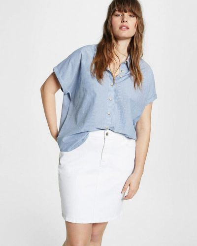 Голубая блузка осенняя Violeta By Mango