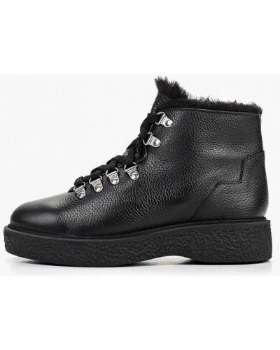 Кожаные ботинки осенние черные Zign
