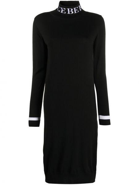 Черное вязаное прямое платье миди в рубчик Iceberg