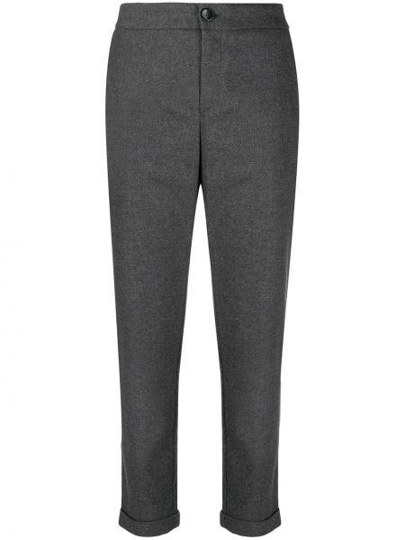 Шерстяные серые укороченные брюки с карманами Boss Hugo Boss