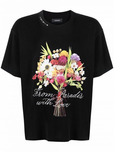 T-shirt bawełniany z printem w kwiaty 3.paradis
