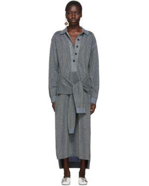 Платье макси на пуговицах вязаное Lanvin