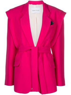 С кулиской розовый пиджак с завязками Hebe Studio