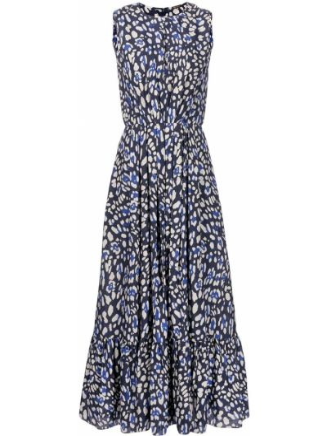 Платье леопардовое - синее Adam Lippes