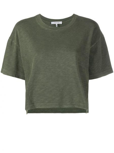 Зеленая прямая футболка с вырезом Frame