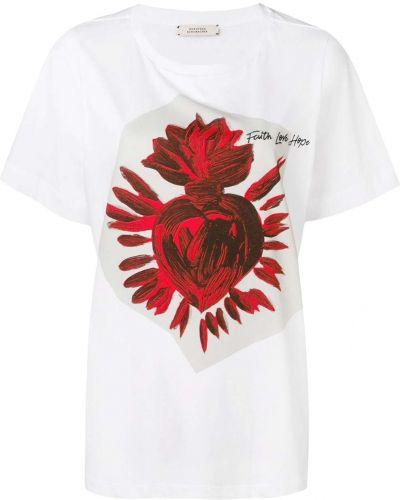 Biały t-shirt bawełniany z printem Dorothee Schumacher