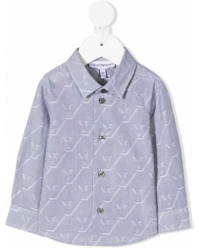 Хлопковая серая с рукавами классическая рубашка Emporio Armani Kids