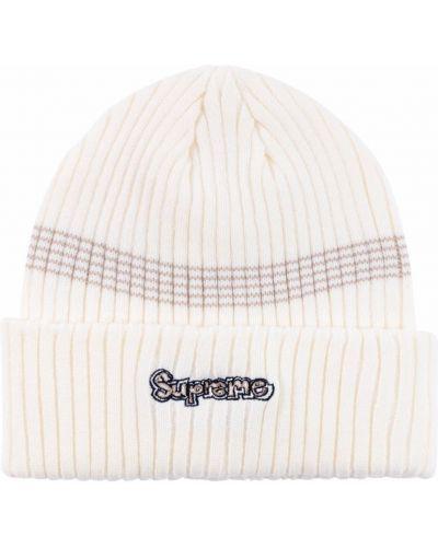 Biała czapka bawełniana Supreme
