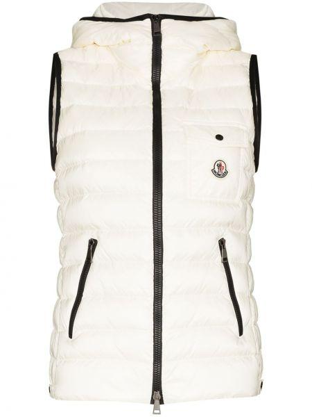 Белая жилетка с капюшоном без рукавов Moncler