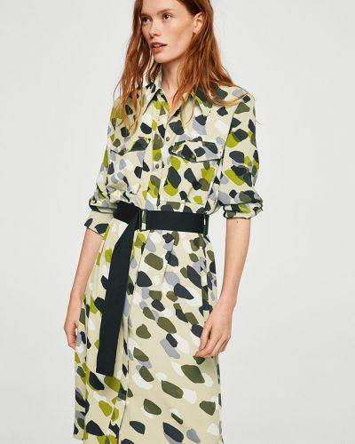 Платье миди с поясом с карманами Mango