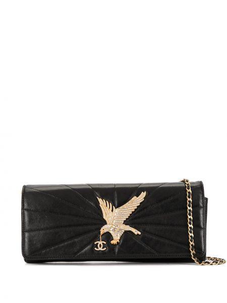 Кожаная черная стеганая сумка на цепочке Chanel Pre-owned