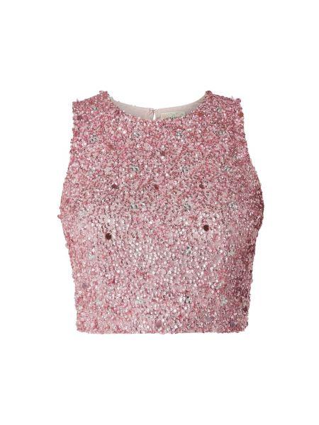 Różowy ażurowy top z cekinami na sznurowadłach Lace & Beads