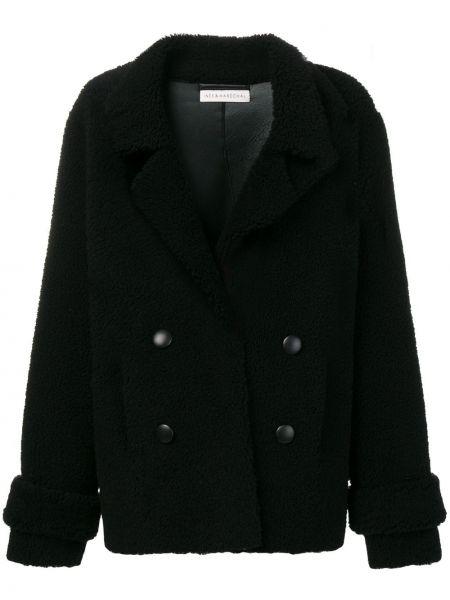 С рукавами черное кожаное пальто с лацканами с потайной застежкой Inès & Maréchal