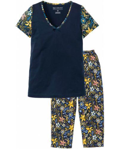 Пижамная темно-синяя пижама с брюками с короткими рукавами Bonprix