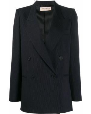 Синий удлиненный пиджак с карманами Blanca