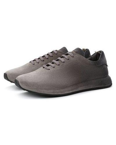 Серые кожаные кроссовки с подкладкой Officine Creative