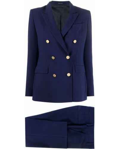 Niebieski garnitur slim z paskiem z długimi rękawami Tagliatore