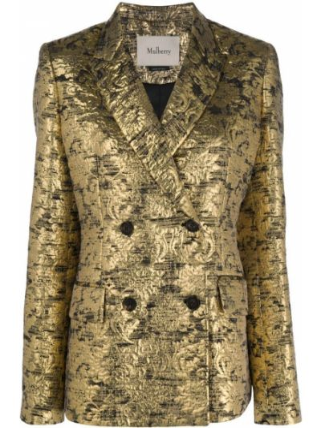 Шелковый желтый пиджак на пуговицах двубортный Mulberry