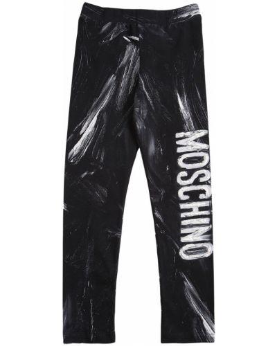 Хлопковые черные леггинсы на резинке Moschino