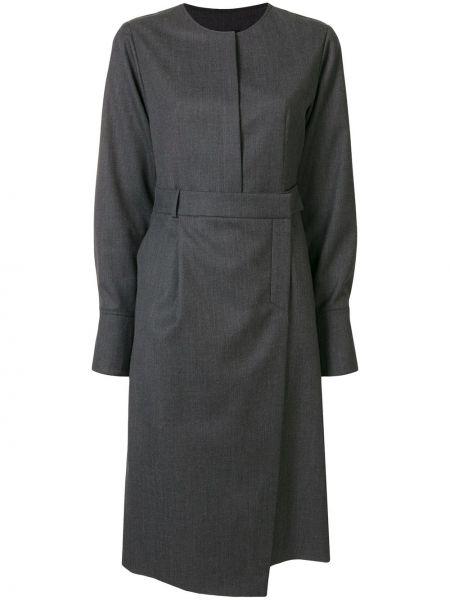 Шерстяное серое платье миди с запахом с вырезом Goen.j