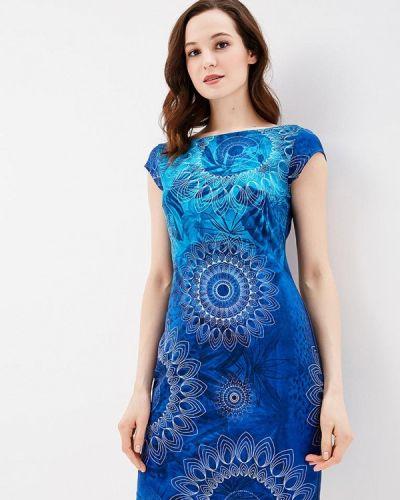 Синее платье футляр Desigual