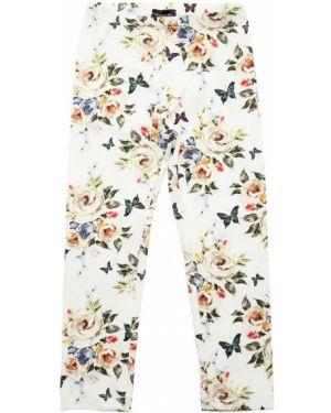 Białe legginsy bawełniane z printem Monnalisa
