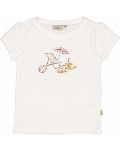 Beżowa koszulka z printem Wheat