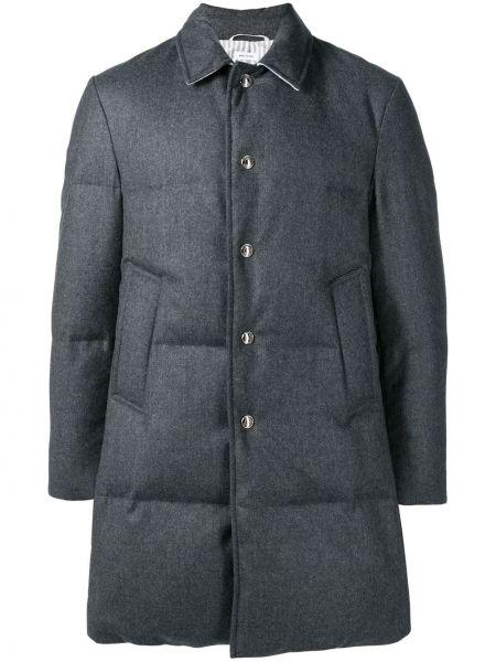 Прямое стеганое пальто на кнопках с воротником Thom Browne