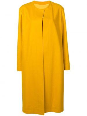 Желтое кашемировое длинное пальто с карманами Liska