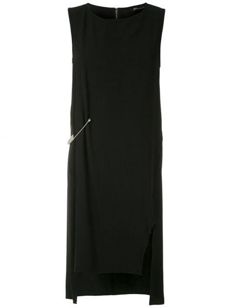 Черное прямое платье миди с разрезами по бокам без рукавов Uma   Raquel Davidowicz