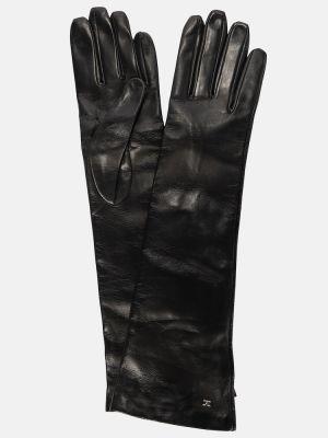 Czarne rękawiczki eleganckie Max Mara