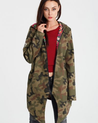 Утепленная куртка с капюшоном милитари прямая Naoko