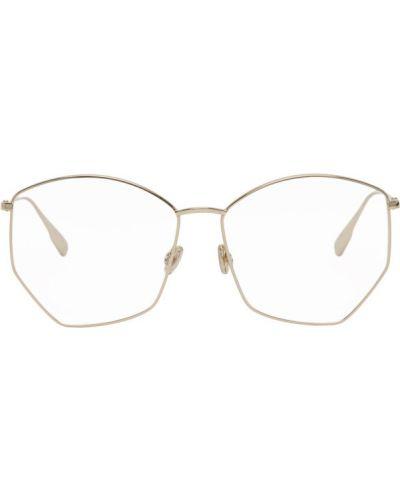 Кожаные очки для зрения прозрачные золотые Dior