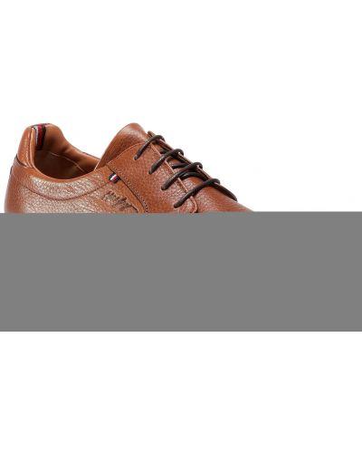 Skórzany brązowy skórzane półbuty Tommy Hilfiger