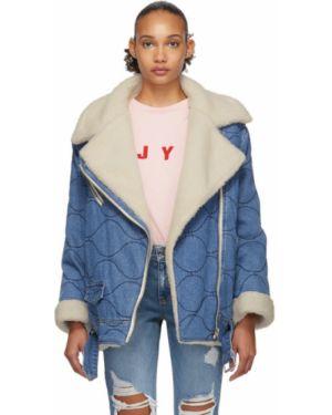 Джинсовая куртка длинная стеганая Sjyp
