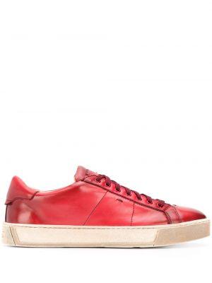 Красные кожаные кеды на шнуровке Santoni