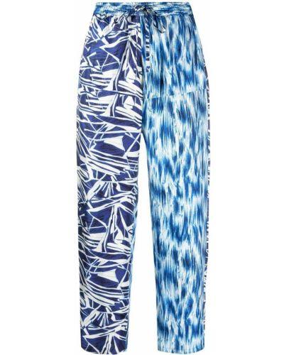 Шелковые прямые синие брюки Pierre-louis Mascia
