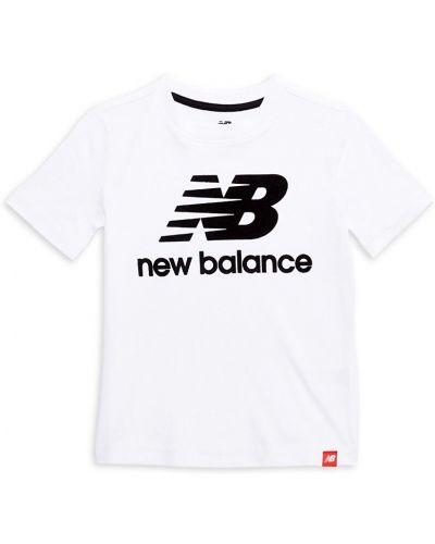 Хлопковая белая лонгслив с короткими рукавами New Balance
