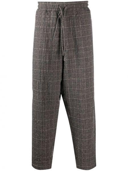 Ze sznurkiem do ściągania brązowy wełniany przycięte spodnie z kieszeniami Ymc