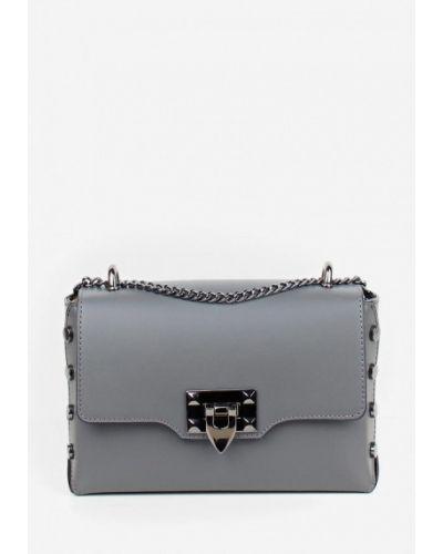 Кожаная сумка через плечо - серая Bella Bertucci
