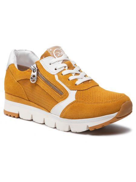 Buty sportowe skorzane - pomarańczowe Marco Tozzi