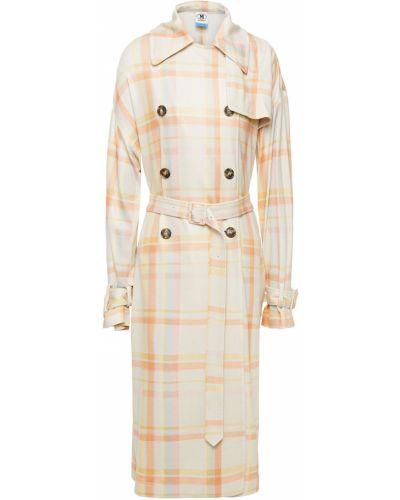 Бежевое пальто двубортное с карманами M Missoni