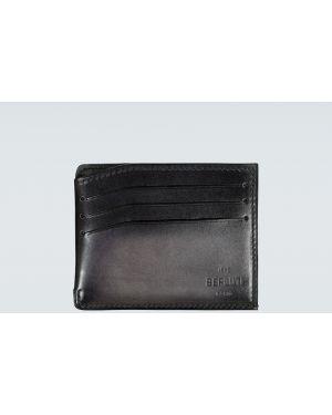 Кожаный черный кошелек винтажный с тиснением Berluti