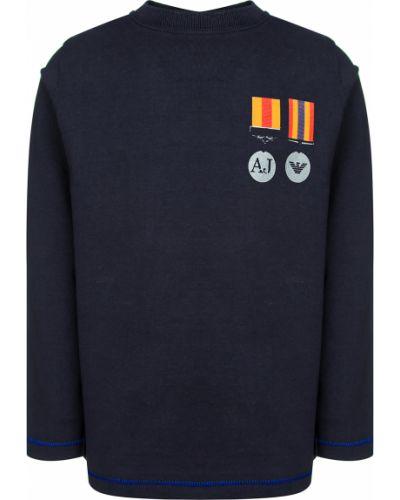 Хлопковая синяя футболка Armani Junior
