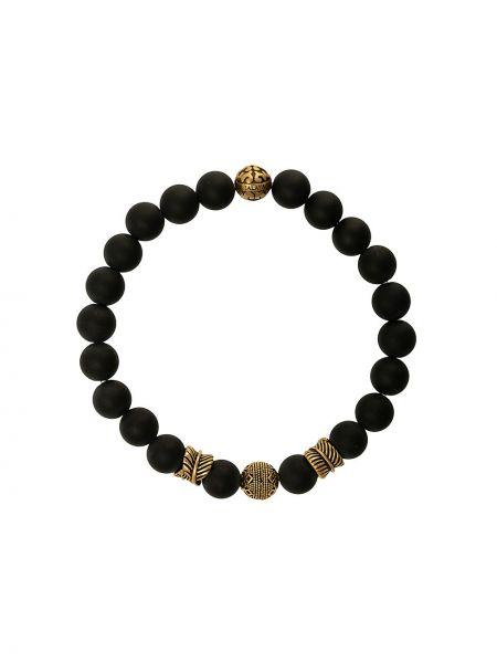 С ониксом черный браслет позолоченный Nialaya Jewelry